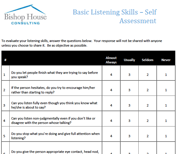 a personal assessment of my leadership skills Prentice hall's self-assessment library is a  and actions in regard to a wide range of personal skills  how good are my listening skills b leadership and.