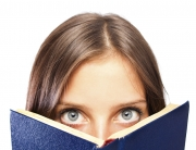 woman with book - ws